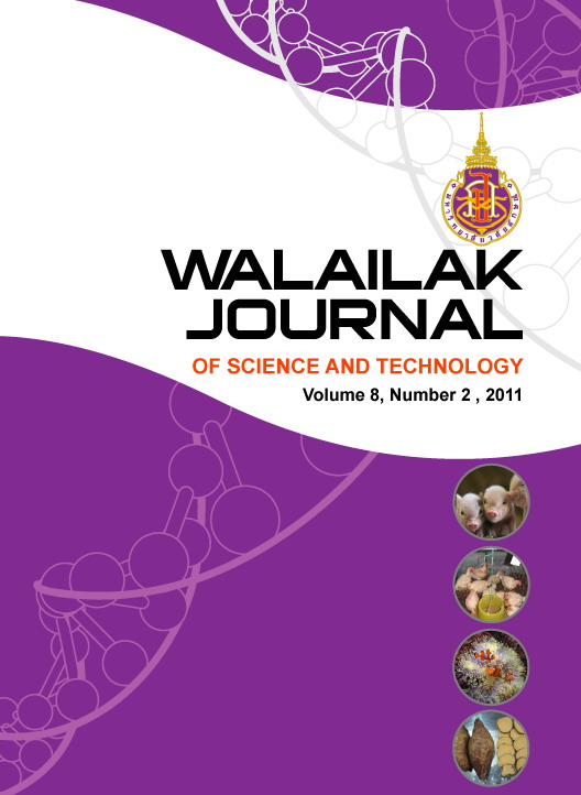 Walailak Journal of Science and Technology Vol 8, No 2 (2011)